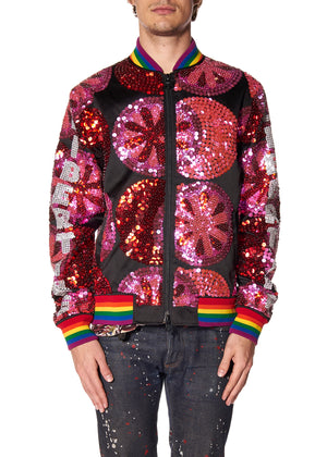 PINK FLOWERS PAILLETTE BOMBER JACKET - Men's Jackets & Coats - Libertine