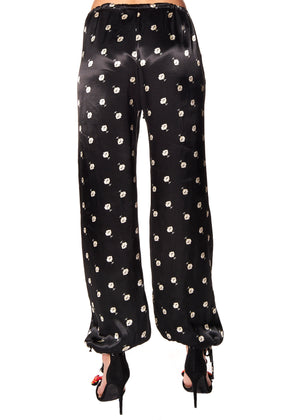 """VICTORIAN MOURNING FLORAL"" DRAWSTRING PANTS - Women's Bottoms - Libertine"