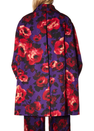 """PURPLE FLORAL"" PLEATED COAT OPERA COAT - Women's Jackets & Coats - Libertine"