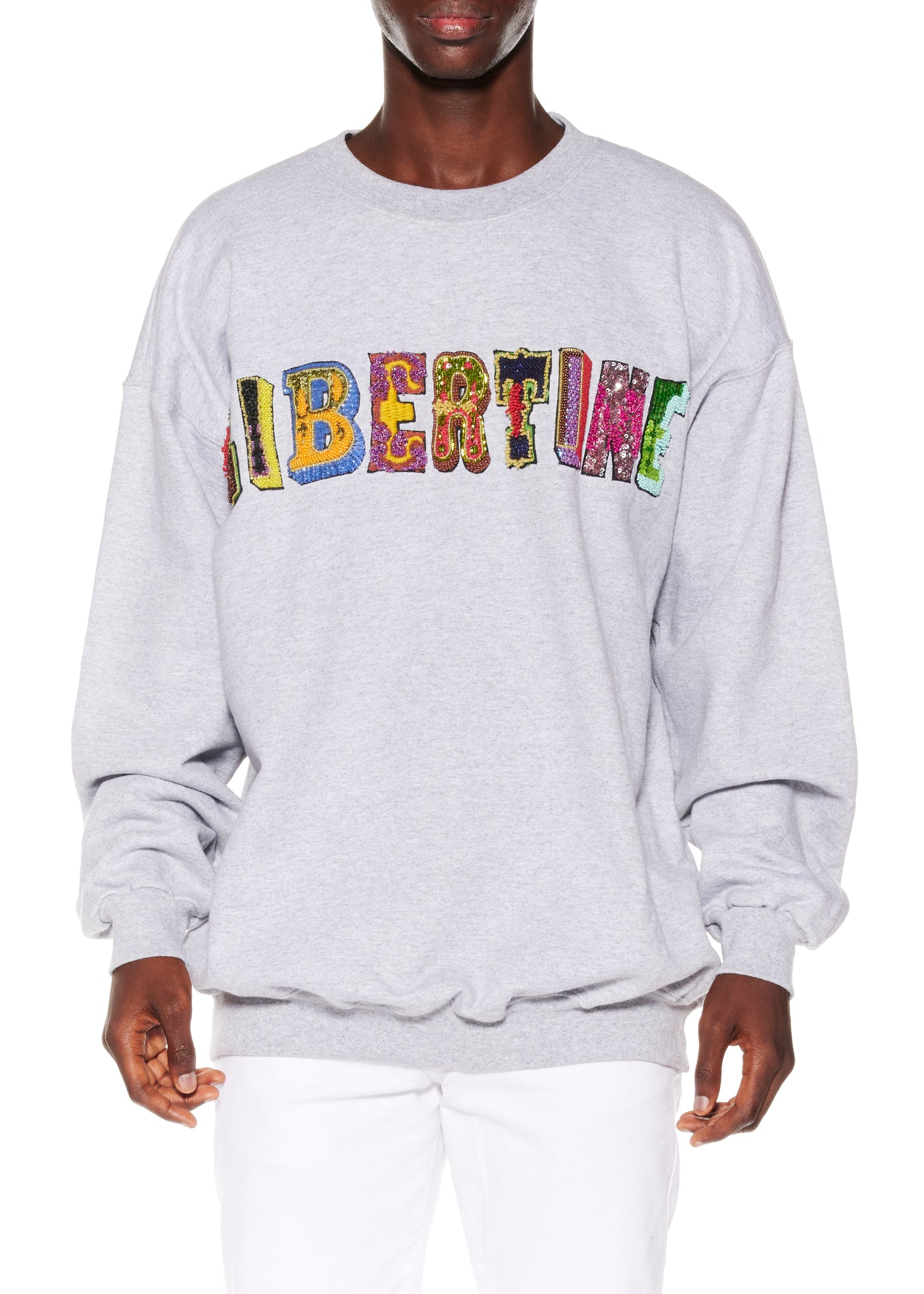 BEADED LIBERTINE CREWNECK PULLOVER SWEATSHIRT - Web Exclusives - Libertine