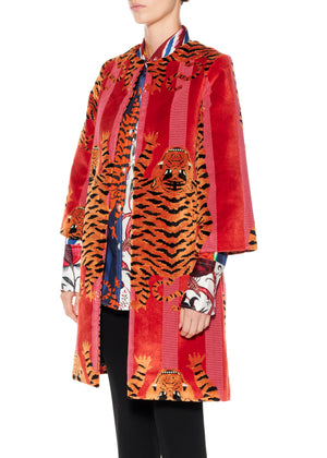 """Jokhang Tiger"" a-line Coat - Women's Jackets & Coats - Libertine"
