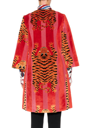 JOKHANG TIGER A-LINE COAT IN RED & PINK - Women's Jackets & Coats - Libertine