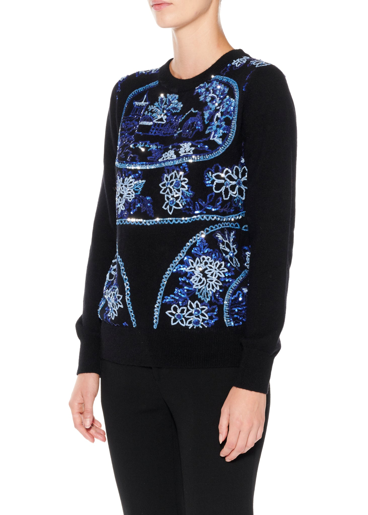 "Paillette ""Plates and Platters"" Cashmere Pullover - Women's Knits - Libertine"