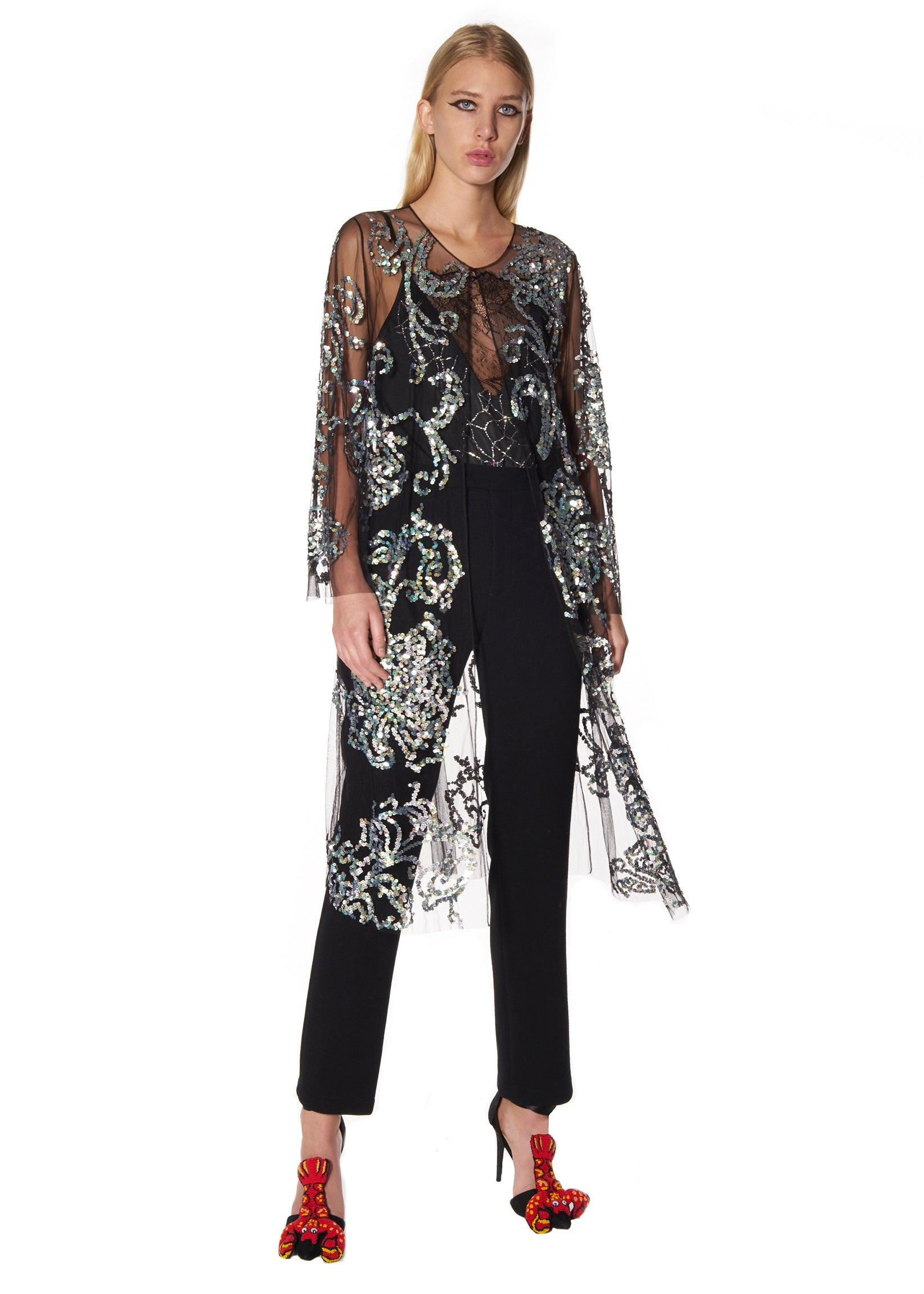 SILVER SEQUIN TULLE ROBE - Women's Jackets & Coats - Libertine