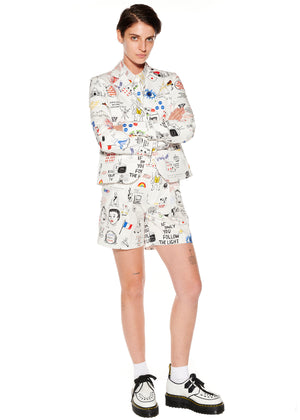 """Marlene's Graffiti"" Pleated Shorts - Women's Bottoms - Libertine"