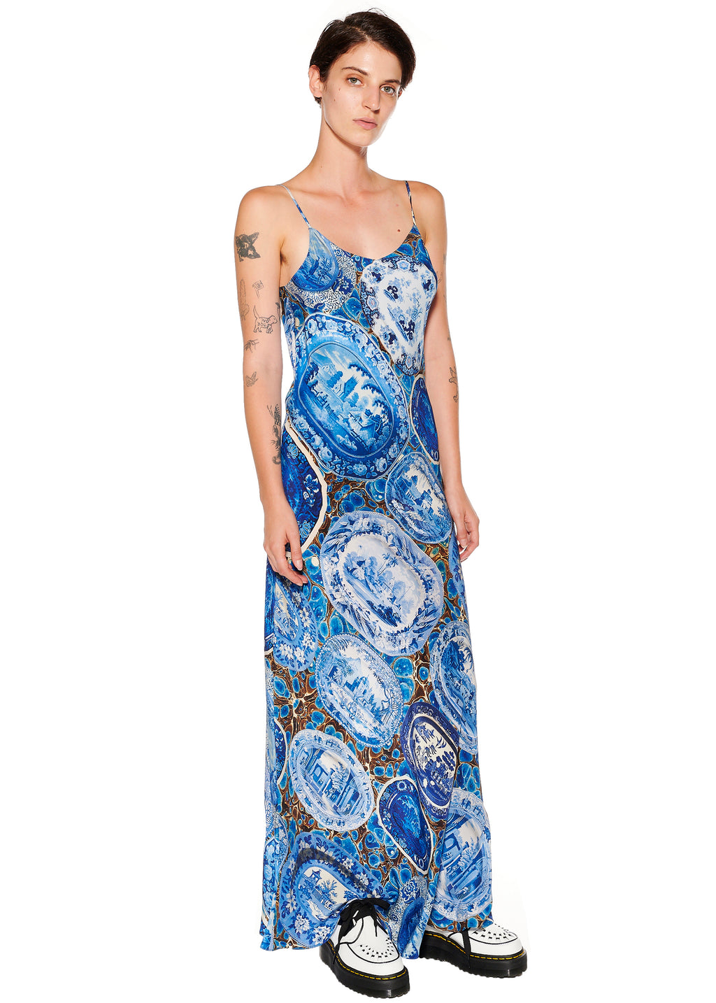 """Plates and Platters"" Long Slip Dress - Women's Dresses - Libertine"