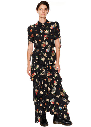 """Nina Simone"" Floral Ruffle Skirt - Women's Bottoms - Libertine"