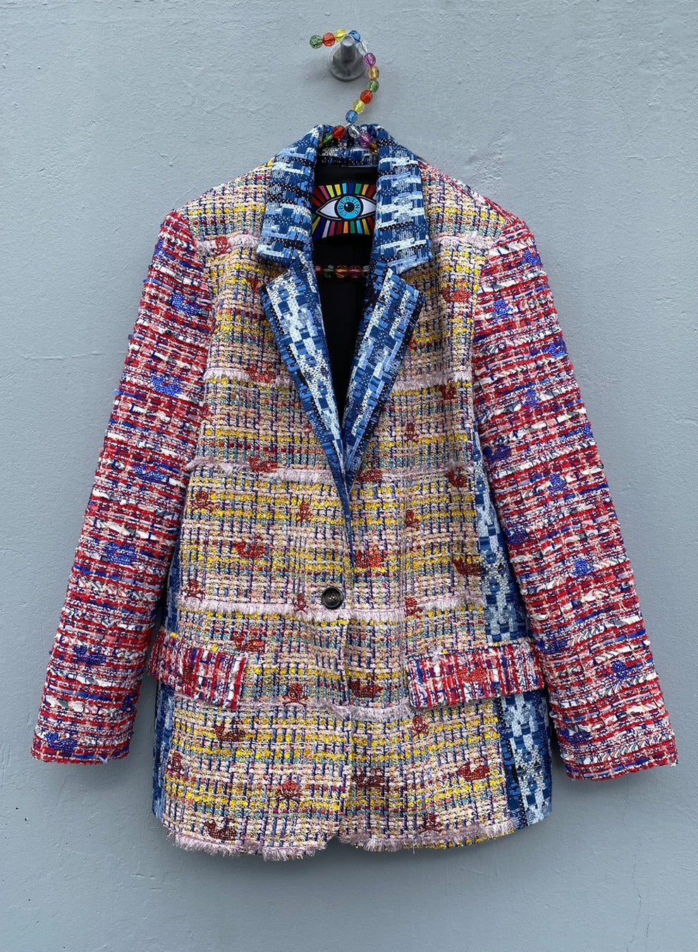 'SKULLS AND WHALES' MIXED TWEED LONG BLAZER - BLAZERS - Libertine
