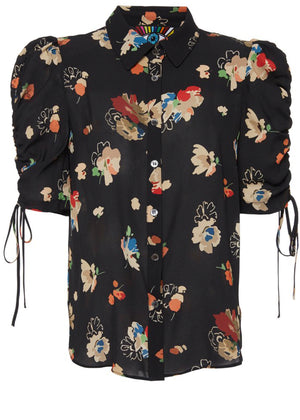 """Nina Simone"" Floral Adjustable Sleeve Blouse - Women's Tops - Libertine"
