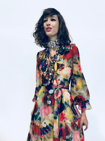 """BLOOMSBURY GROUP"" PAINTED FLOWERS WRAP DRESS - Women's Dresses - Libertine"