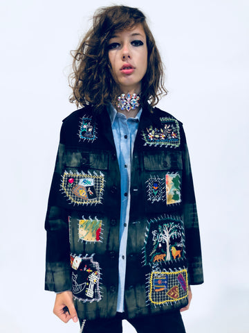 """YOUR FAVORITE GRANNY'S PATCHWORK"" ARMY JACKET"