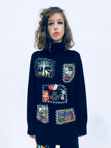 """YOUR FAVORITE GRANNY'S PATCHWORK"" TURTLENECK SWEATER"