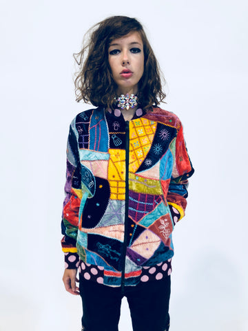 """I HAVE TO SEE A MAN ABOUT A DOG"" PATCHWORK VELVET BOMBER JACKET - Women's Jackets & Coats - Libertine"