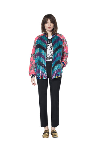 """ZIG ZAG"" PAILLETTE FLIGHT JACKET - Women's Jackets & Coats - Libertine"