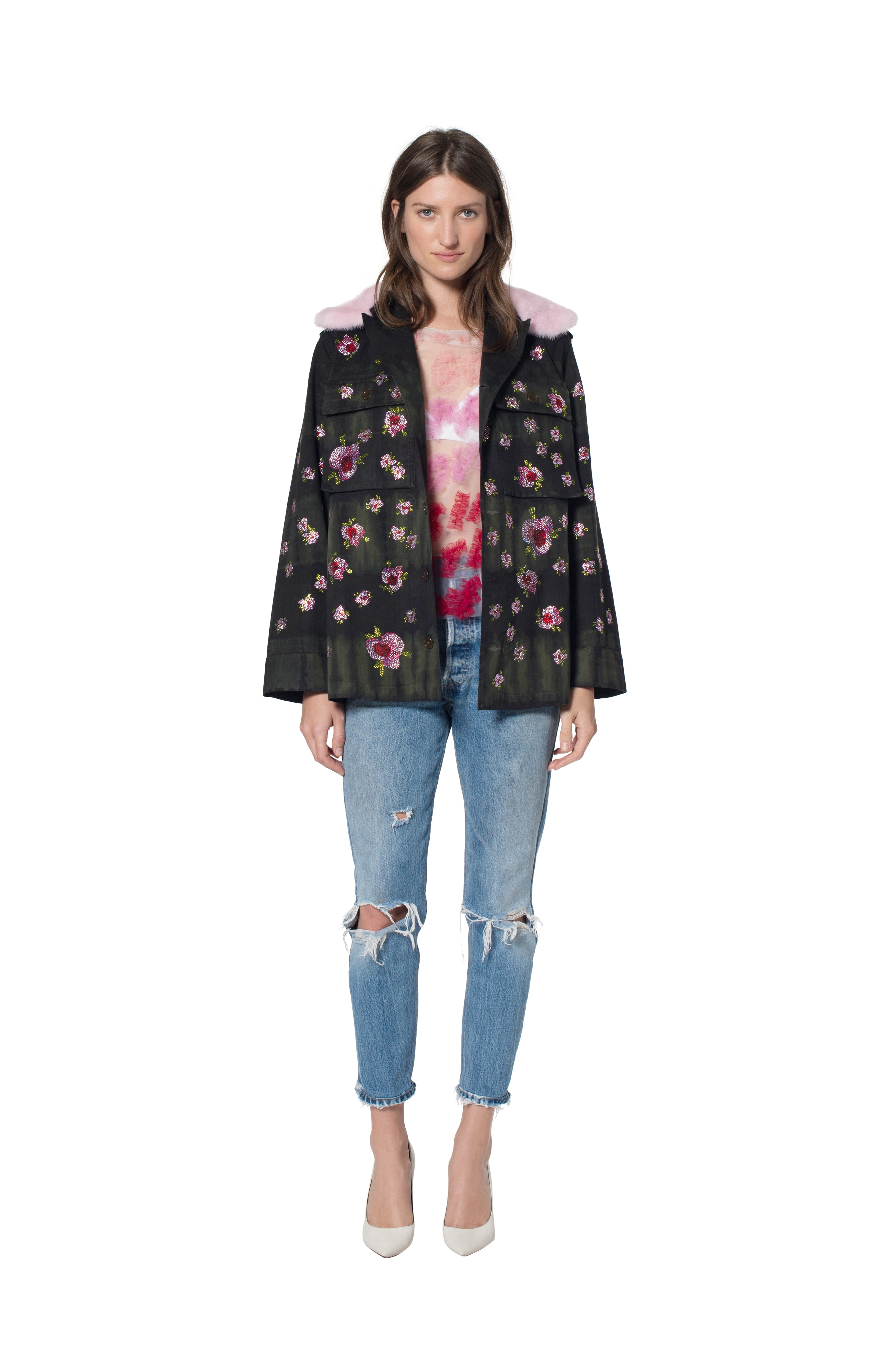 FRENCH MILITARY JACKET WITH FLORAL CRYSTALS