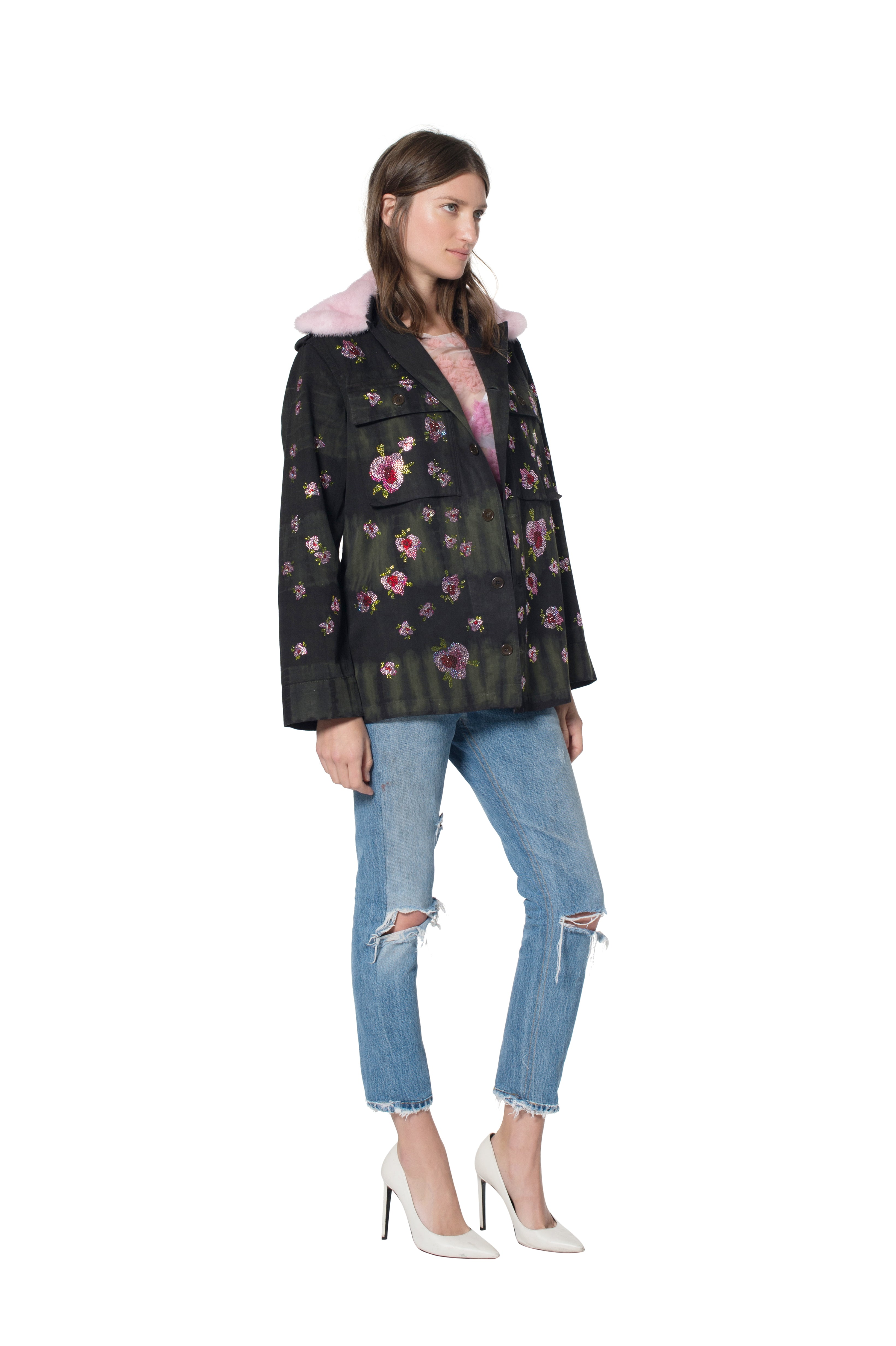 FRENCH MILITARY JACKET WITH FLORAL CRYSTALS AND MINK COLLAR