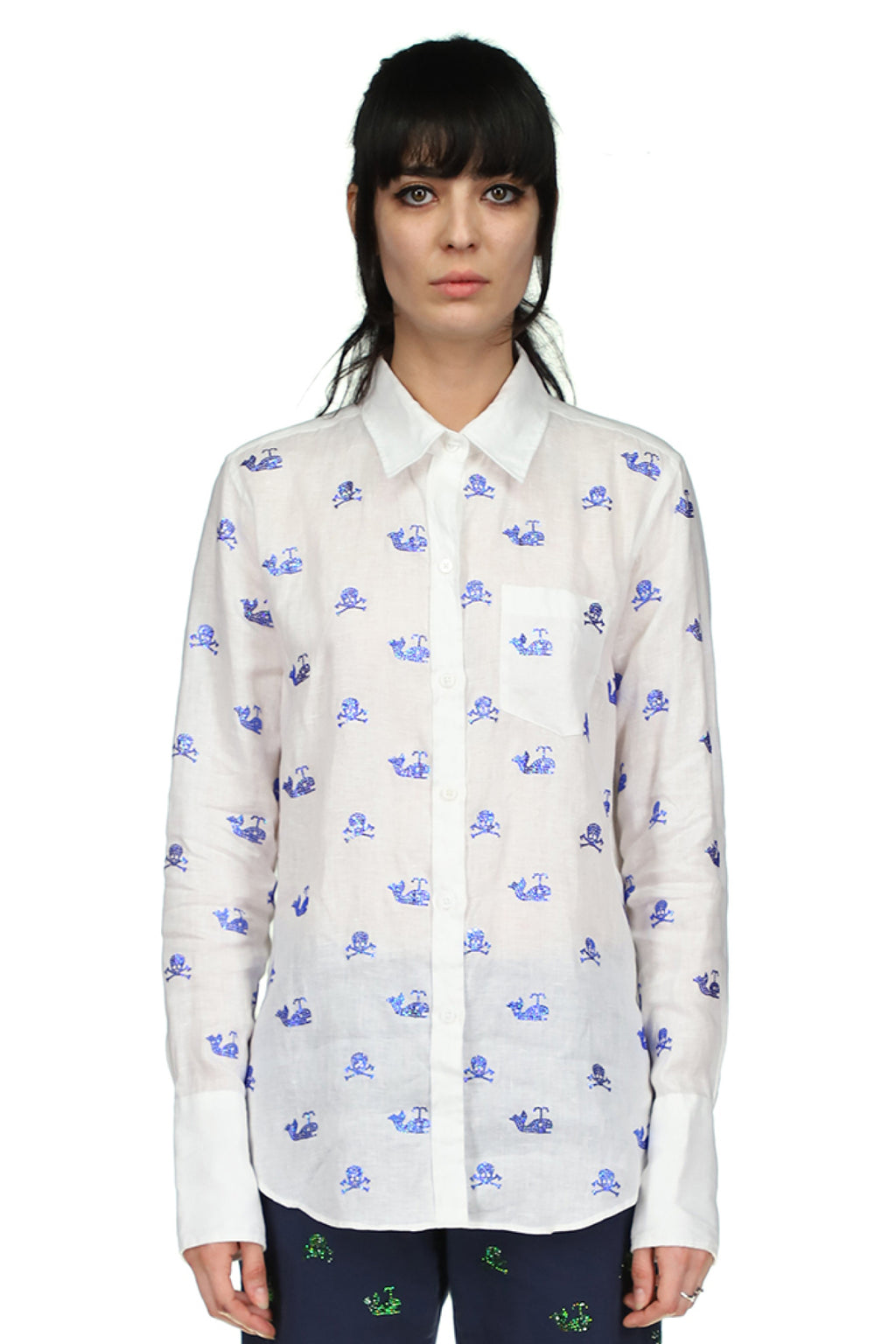 Skull Crossbones and Whales Classic Shirt in White Linen - Spring 2021 - Libertine