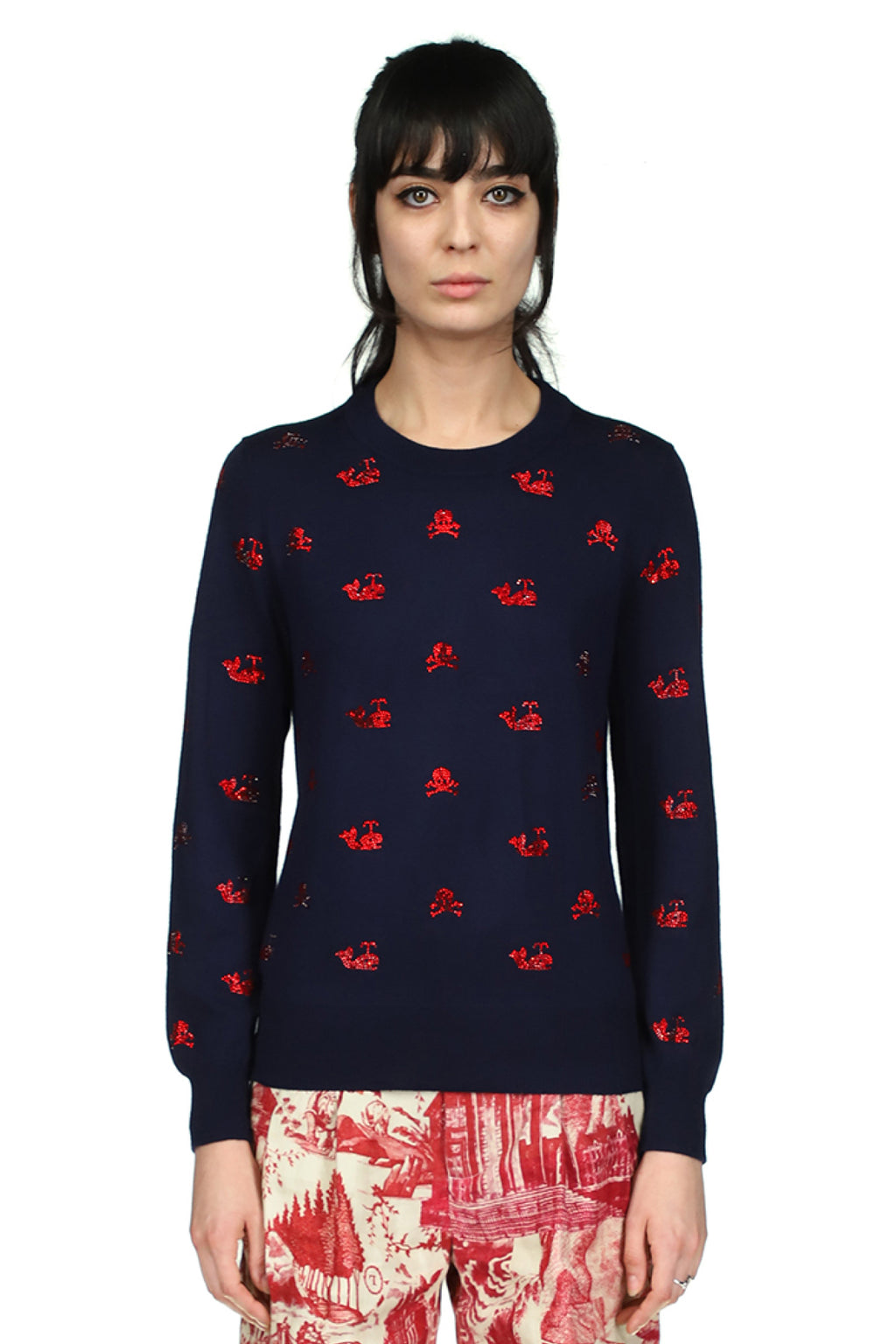 'Skull Crossbones and Whales' Navy Sweater - Spring 2021 - Libertine