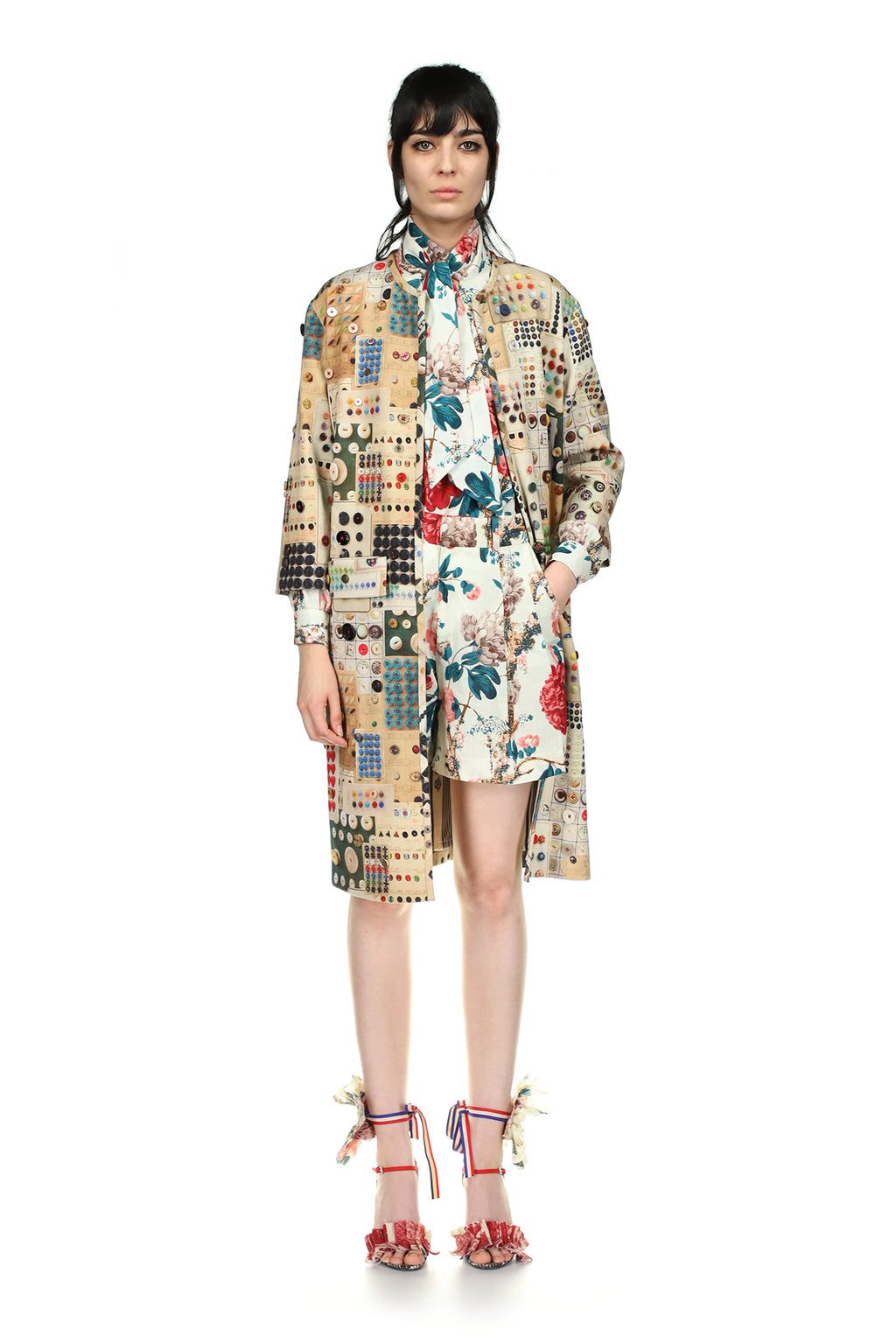 'Button Card Shoppe' Duster Coat with Button Embellishment - Spring 2021 - Libertine