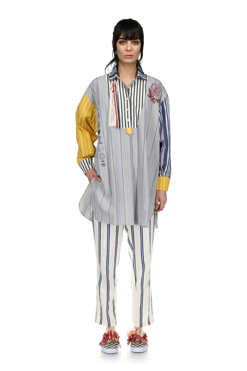 Silk Screen Mélange Mixed Stripe Tunic - Spring 2021 - Libertine