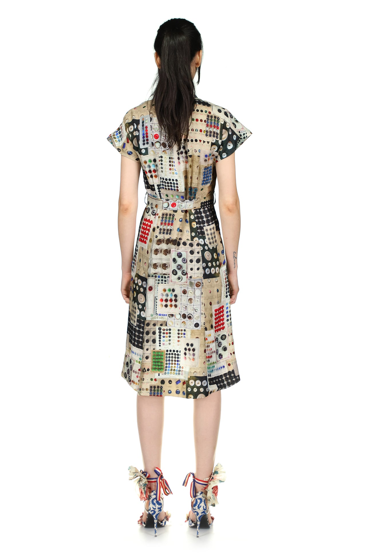 'Button Card Shoppe' Tuck Pleat V-Neck Dress - Spring 2021 - Libertine