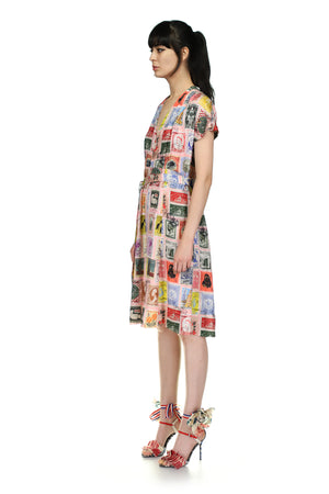 'Sending our love Stamps' Tuck Pleat V-Neck Dress - Spring 2021 - Libertine