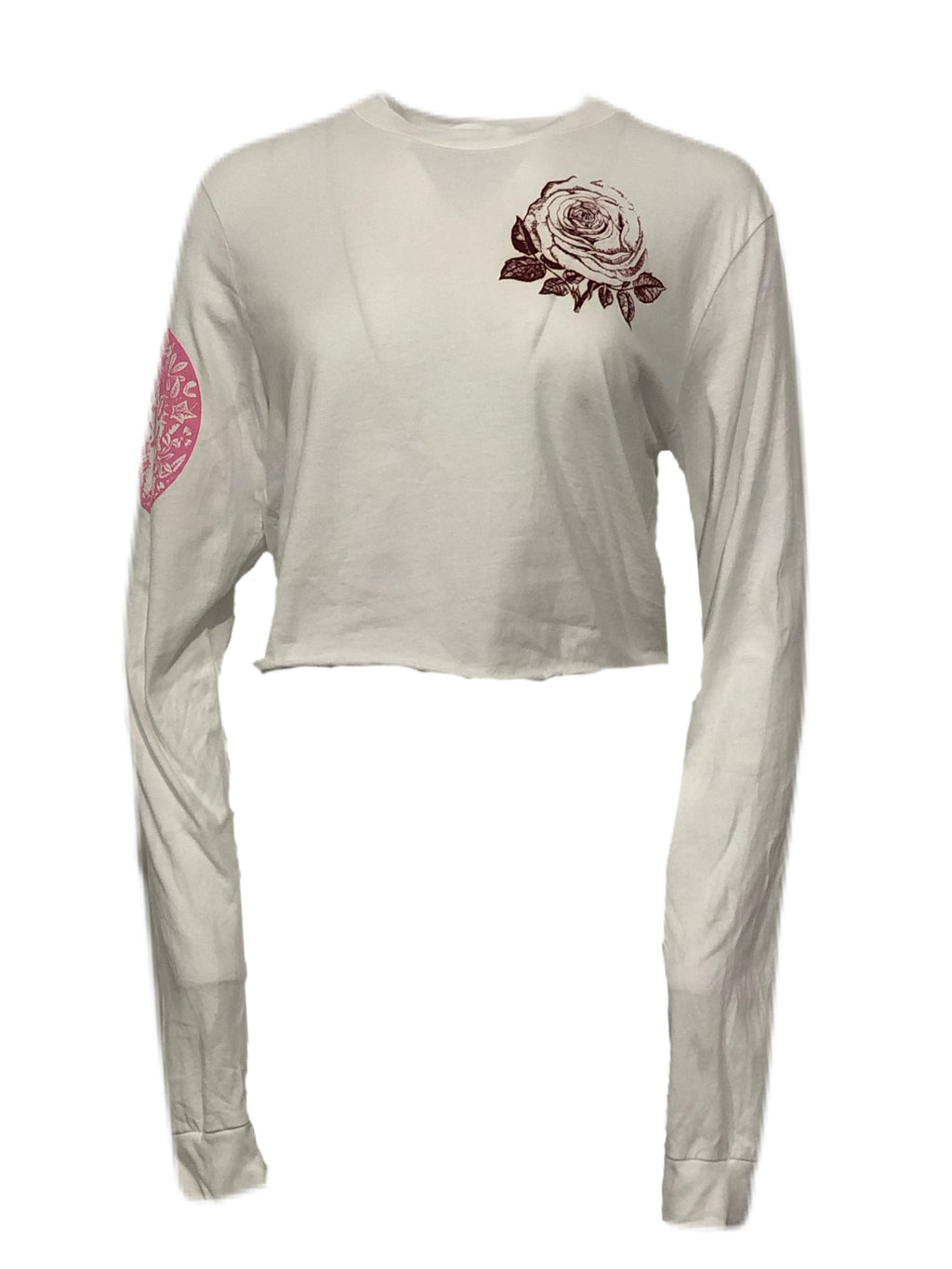 Silk Screen Melange Cropped Long Sleeve T Shirt - Spring 2021 - Libertine