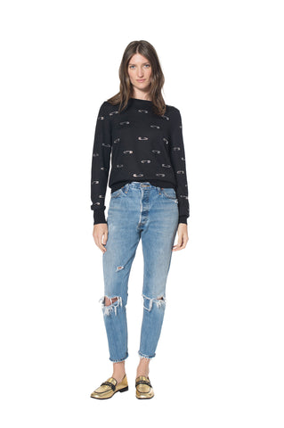 """EDITH HEAD SAFETY PIN"" CREWNECK CASHMERE SWEATER - Women's Knits - Libertine"