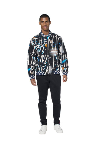 """SPACE WRITING"" FLIGHT JACKET WITH CRYSTALS - Men's Jackets & Coats - Libertine"