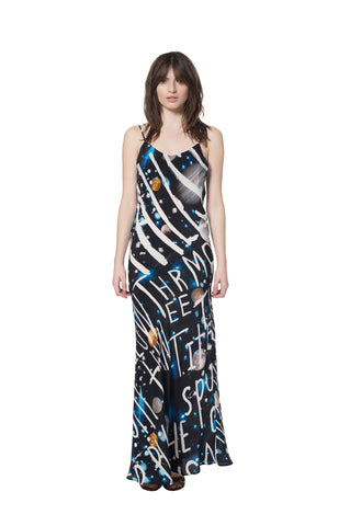"""SPACE WRITING"" LONG SLIP DRESS - Women's Dresses - Libertine"