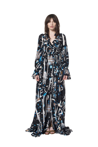 """SPACE WRITING"" WRAP DRESS"