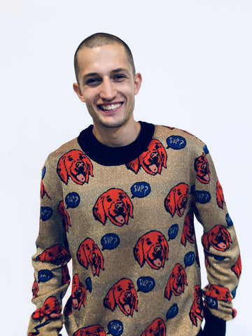 """SUP DOG"" CREWNECK CASHMERE PULLOVER - Men's Tops - Libertine"