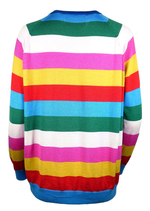 CASHMERE STRIPED SWEATER WITH BUTTERFLIES - Women's Knits - Libertine