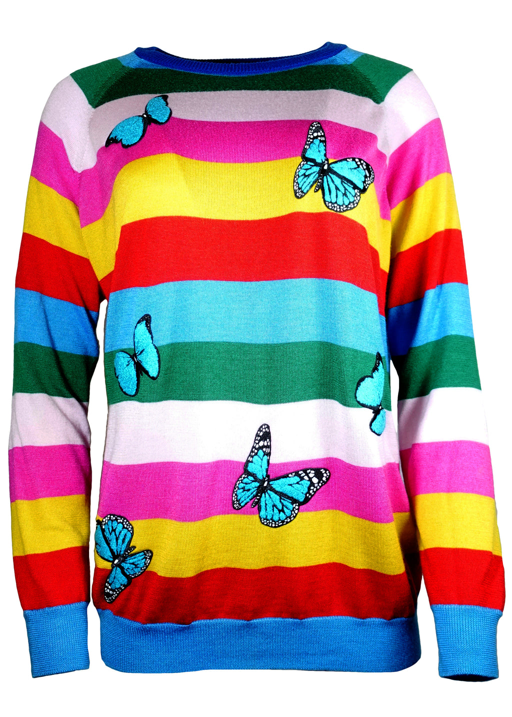 CASHMERE STRIPES STRIPED SWEATER WITH BUTTERFLIES - Women's Knits - Libertine