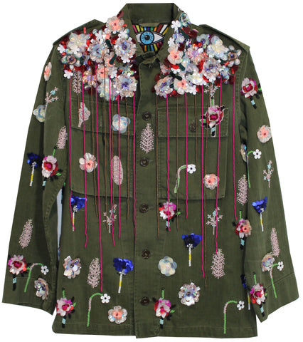 FLORAL EMBELLISHED ARMY JACKET - Women's Jackets & Coats - Libertine
