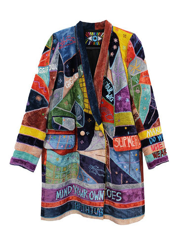 """I HAVE TO SEE A MAN ABOUT A DOG"" PATCHWORK VELVET COAT WITH CRYSTALS - Women's Jackets & Coats - Libertine"