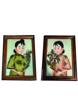 PAIR OF 19TH CENTURY CHINESE REVERSE GLASS PAINTINGS OF SISTERS - Accessories - Libertine