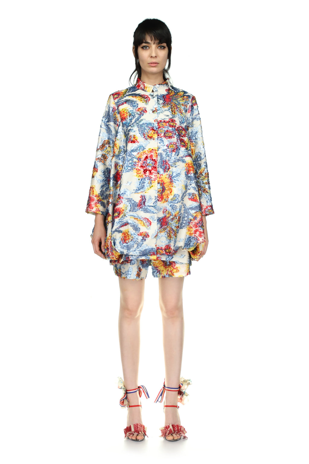 Embellished 'Giverny Fil Coupe' Cocoon Coat - Spring 2021 - Libertine