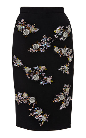 """TWILIGHT GARDEN"" SLIT PENCIL SKIRT - Women's Bottoms - Libertine"