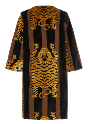 JOKHANG TIGER A-LINE COAT IN BLACK & BROWN - Women's Jackets & Coats - Libertine