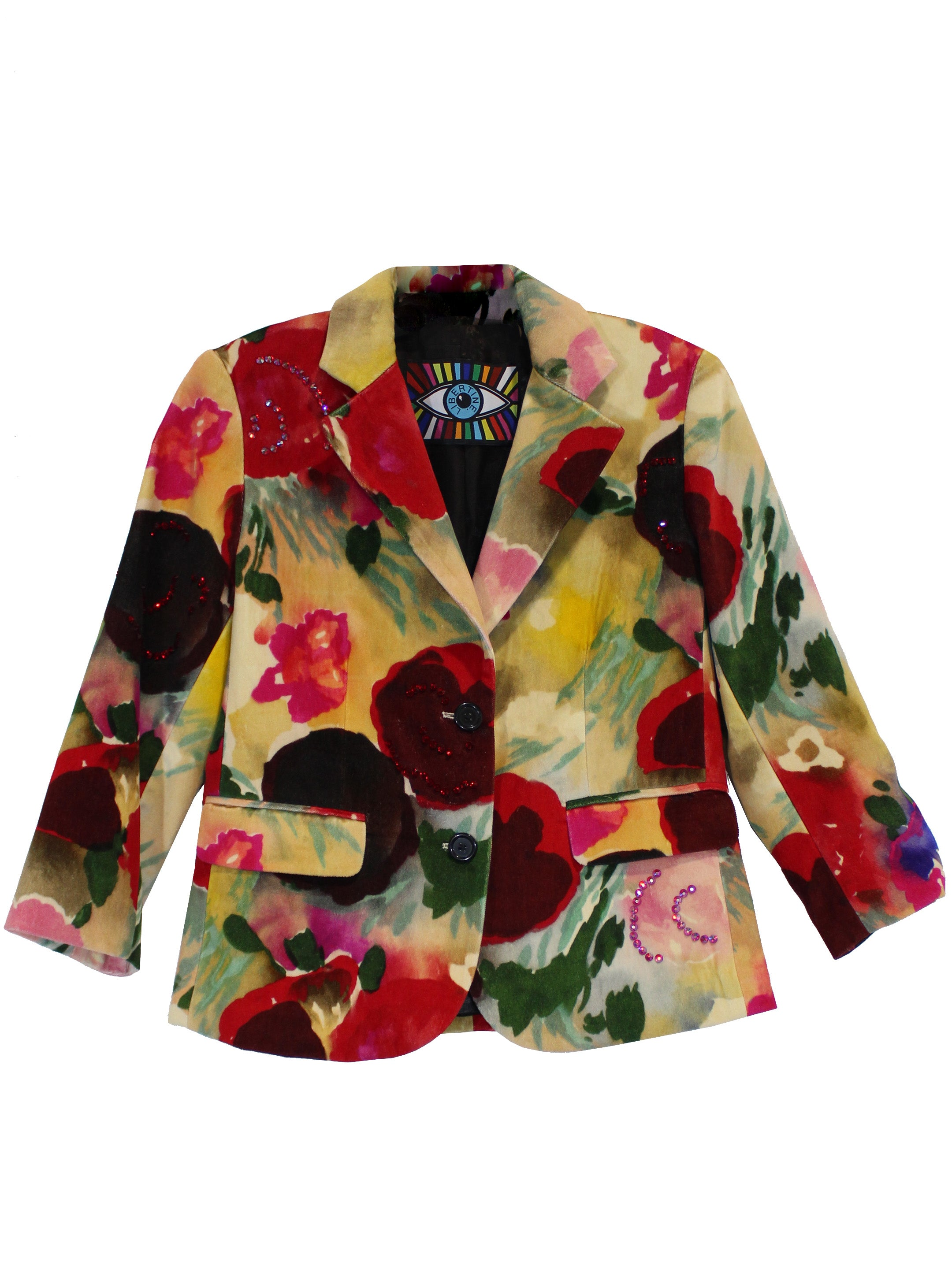 """BLOOMSBURY GROUP"" PAINTED FLOWERS BLAZER WITH CRYSTALS - Women's Jackets & Coats - Libertine"