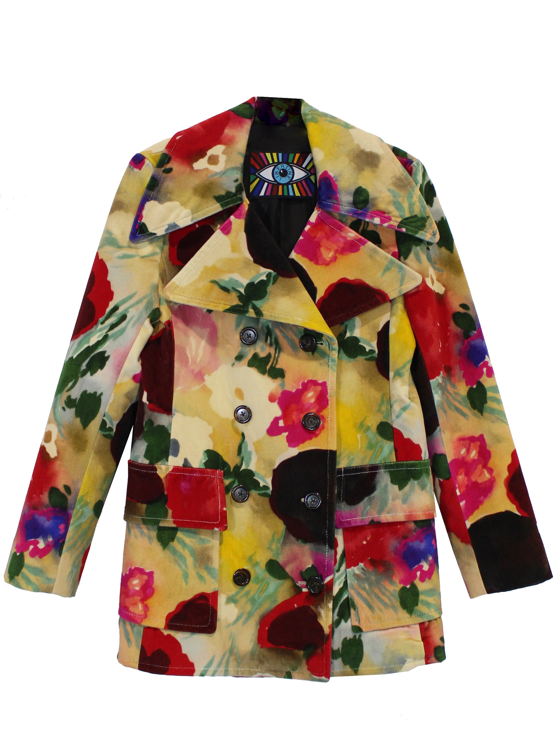 """BLOOMSBURY GROUP"" PAINTED FLOWERS PEACOAT WITH CRYSTALS - Women's Jackets & Coats - Libertine"