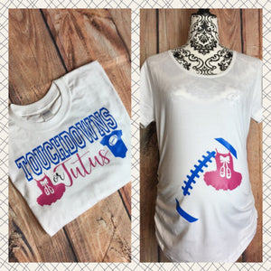 0957506d Touchdowns Or Tutus Gender Reveal Shirts Couples Gender Reveal Shirts  Touchdown Or Tutu Shirts Football Gender