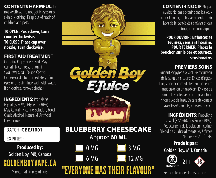 Golden Boy E-Juice - Blueberry Cheesecake - Golden Boy Vape Shop