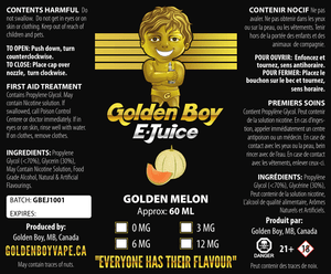 Golden Boy E-Juice- Golden Melon - Golden Boy Vape Shop