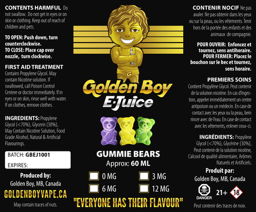 Golden Boy E-Juice- Gummy Bear - Golden Boy Vape Shop