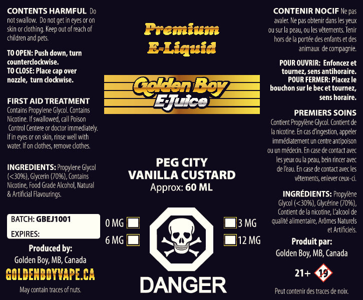 Golden Boy E-Juice - Peg City Vanilla Custard