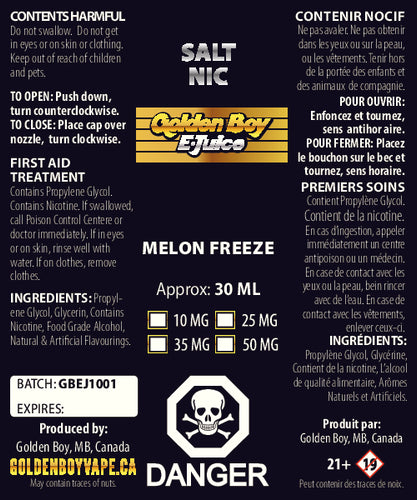 Golden Boy E-Juice - Melon Freeze - Salt Nic