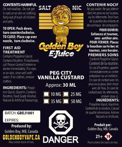 Golden Boy E-Juice - Peg City Vanilla Custard - Salt Nic