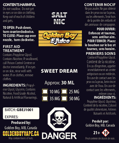 Golden Boy E-Juice - Sweet Dream - Salt Nic